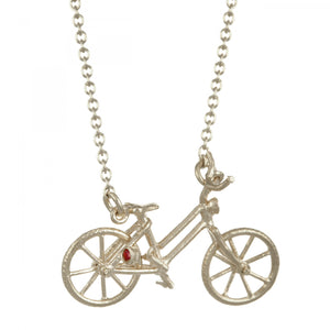 Alex Monroe - Vintage Bicycle Necklace with Ruby & Diamond