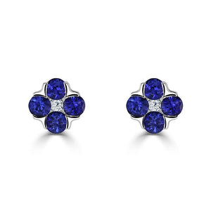 Posy Stud Earrings - Diamond & Sapphire