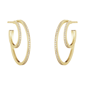Georg Jensen Large Halo Ear hoops - Double Pave