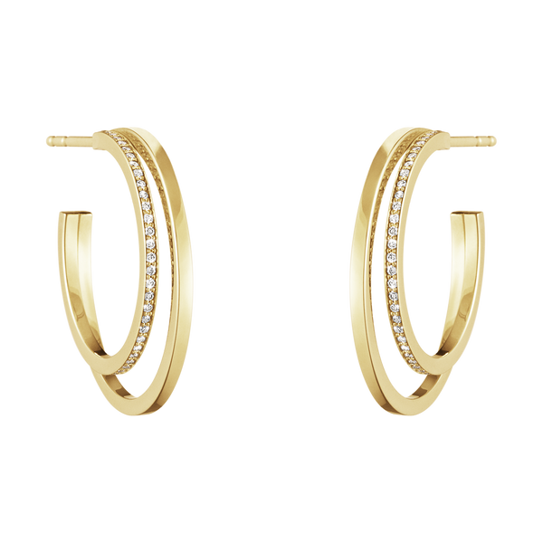 Georg Jensen Large Halo Ear hoops - Single Pave
