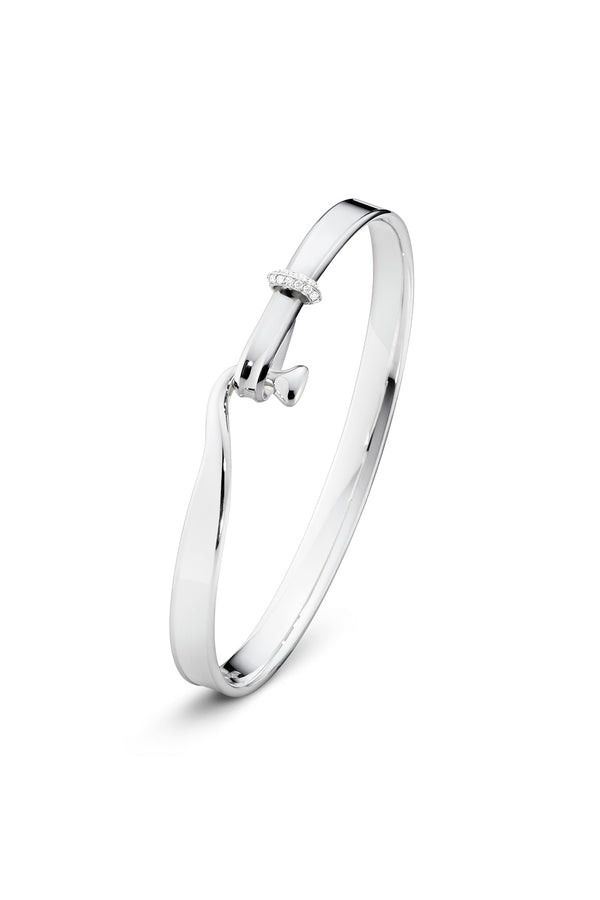 Torun bangle - sterling silver with white gold and diamonds