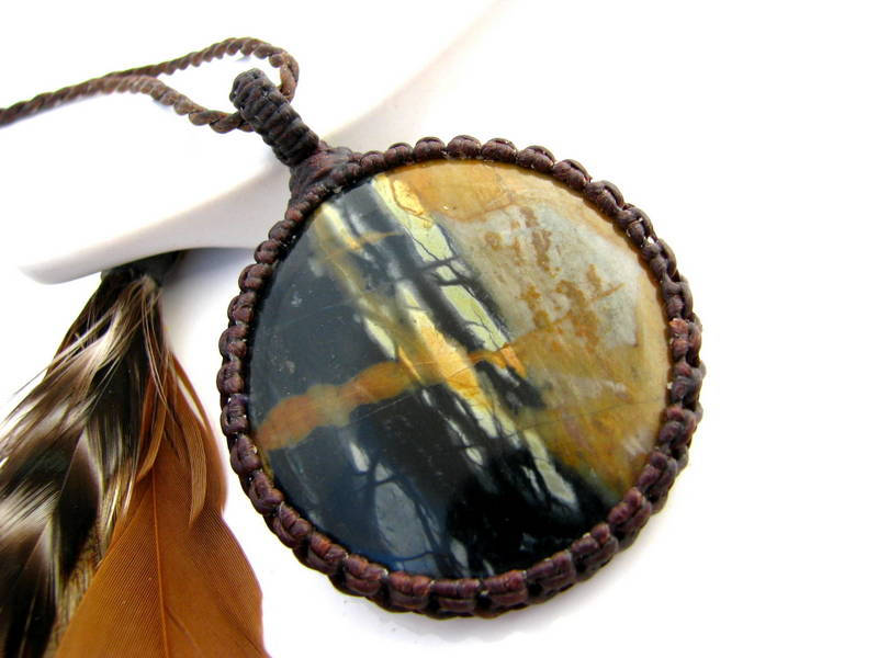 Scenic Picasso Jasper Heart with an Incredible Pattern with Yellow Chalcedony
