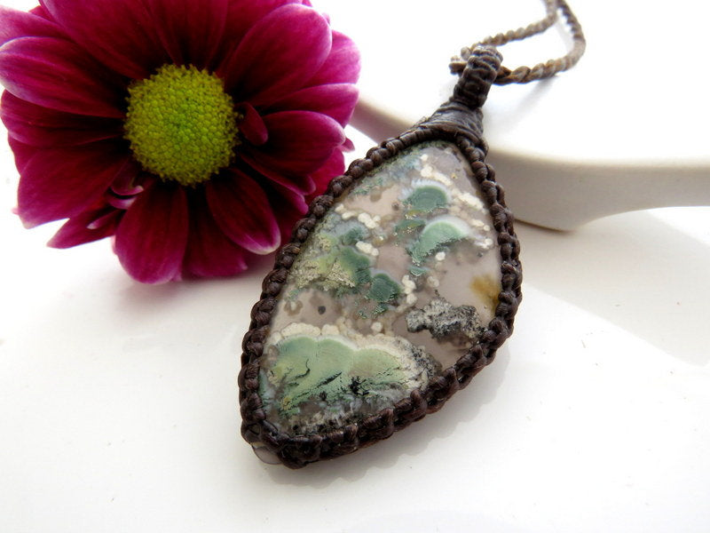 Tree of Life Necklace necklace Rare Purple Moss Agate pendant macrame jewelry Moss Agate necklace gift ideas for her Macrame necklace