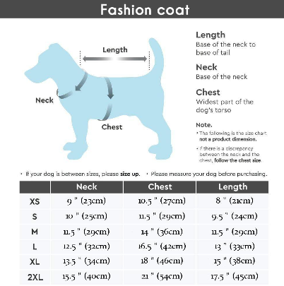 Thick Warm Dog Puffer Jacket Size Chart
