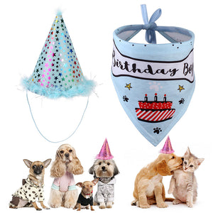 Cute Birthday Boy & Girl Bib Bandana & Party Hat