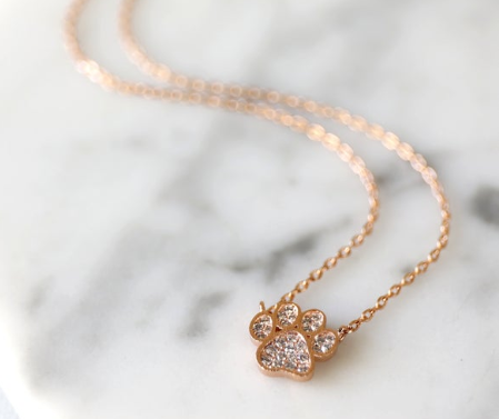 Gold Paw Crystal Necklace