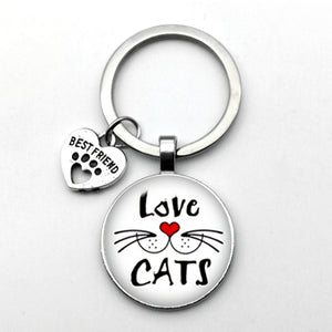 Best Friends Love Cats Keyring