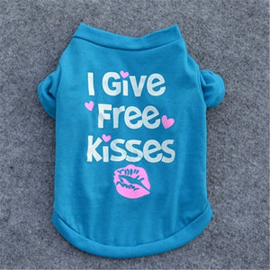 Super Cute I Give Free Kisses Dog Cotton T-Shirt