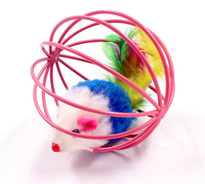 Caged Feathery Mouse Ball Cat Teaser