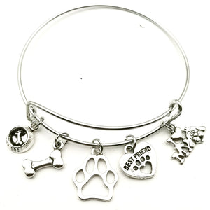 Fun Dog Charm Bangle Bracelet