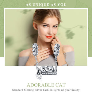 Adorable Sterling Silver Cat Charm