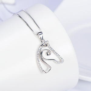 Elegant Sterling Silver Horse Head Pendant Necklace - TheRightBuy4Women.com