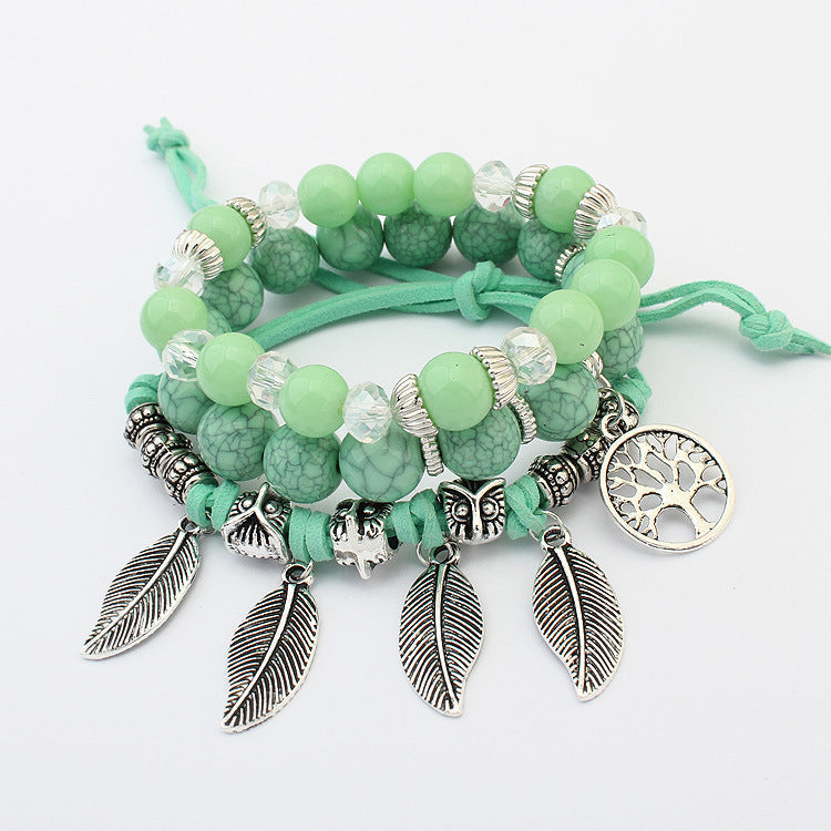 Multi-layer bracelet female hand-made leaf shaped glass beads Ships from USA warehouse - TheRightBuy4Women.com