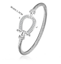 Load image into Gallery viewer, Horseshoe Bangle Bracelet For Girls