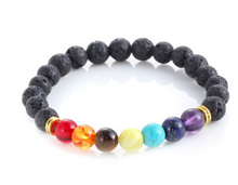Load image into Gallery viewer, Handmade Black Lava Seven Chakra Healing Balance Beaded Bracelet - TheRightBuy4Women.com