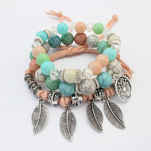 Load image into Gallery viewer, Multi-layer bracelet female hand-made leaf shaped glass beads Ships from USA warehouse - TheRightBuy4Women.com