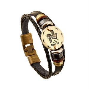 Twelve Constellation Cowhide Bracelet - TheRightBuy4Women.com