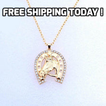 Load image into Gallery viewer, Crystal Horseshoe Surrounds Horse Head Necklace - TheRightBuy4Women.com