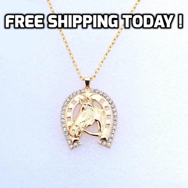 Crystal Horseshoe Surrounds Horse Head Necklace - TheRightBuy4Women.com