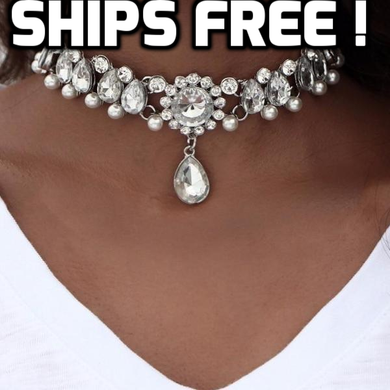 Single Crystal Beads Choker Necklace - TheRightBuy4Women.com