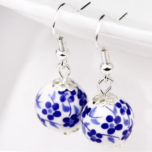 Blue And White Porcelain Earring Vintage Ceramic - TheRightBuy4Women.com