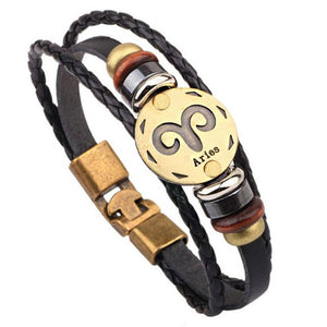Twelve Constellation Signs Bracelet With Leather Wristband