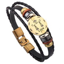 Load image into Gallery viewer, Twelve Constellation Signs Bracelet With Leather Wristband