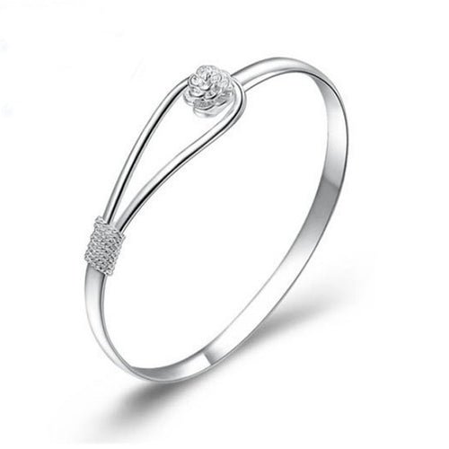 Nice Flower Solid Silver Clasp Bracelet - TheRightBuy4Women.com