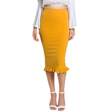 Load image into Gallery viewer, Yellow Split Ruffle Skirt - TheRightBuy4Women.com