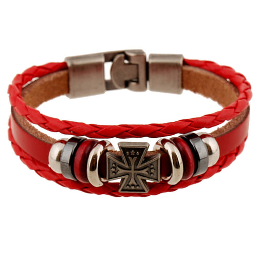 Men's Leather Bracelet with Iron Cross Bangle