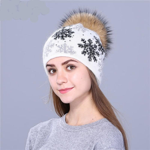 Faux Mink Pom Poms. Wool Knitted Hat. Christmas Snow Skullies Winter Hat For Women & Girls. - TheRightBuy4Women.com