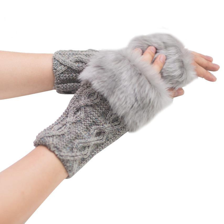 Winter Gloves With Faux Rabbit Fur Knitted Wrist and Fingerless - TheRightBuy4Women.com