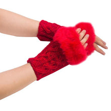 Load image into Gallery viewer, Winter Gloves With Faux Rabbit Fur Knitted Wrist and Fingerless - TheRightBuy4Women.com