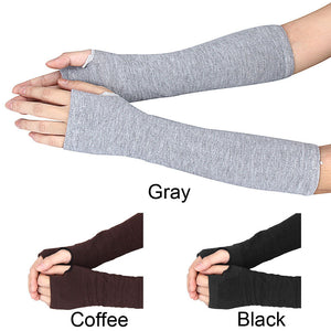 Women's Gloves Winter Wrist Arm Hand Warmer Knitted Long Fingerless Gloves/Mitten in Coffee, Gray or Black - TheRightBuy4Women.com
