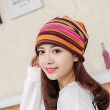 Load image into Gallery viewer, Winter Beanie-Turban Stripe & Ruffle Women's Hat - TheRightBuy4Women.com
