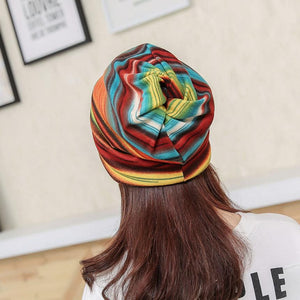 Winter Beanie-Turban Stripe & Ruffle Women's Hat - TheRightBuy4Women.com