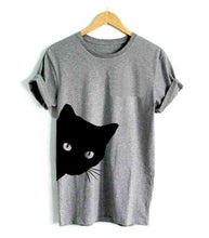 Load image into Gallery viewer, Peeking Cat Women's T-shirt - Cotton - TheRightBuy4Women.com
