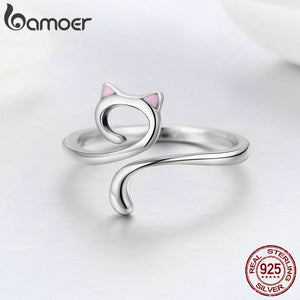 Hot Sale Authentic 925 Sterling Silver Cat Open Ring - TheRightBuy4Women.com
