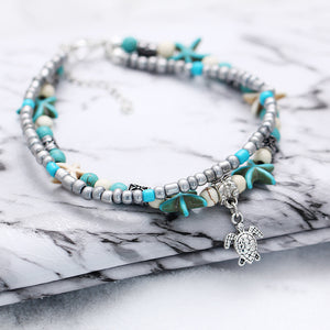 Sea Turtle w Man Made Pearls Starfish Turquoise Charms Bracelet or Anklet For Bohemian Summer - TheRightBuy4Women.com