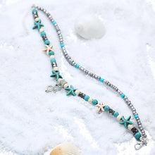 Load image into Gallery viewer, Sea Turtle w Man Made Pearls Starfish Turquoise Charms Bracelet or Anklet For Bohemian Summer - TheRightBuy4Women.com