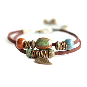 Bohemia - Leather Bracelet & Colorful Ceramic Bead With Leaf Pendant & Bells - TheRightBuy4Women.com