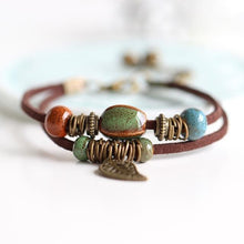 Load image into Gallery viewer, Bohemia - Leather Bracelet & Colorful Ceramic Bead With Leaf Pendant & Bells - TheRightBuy4Women.com