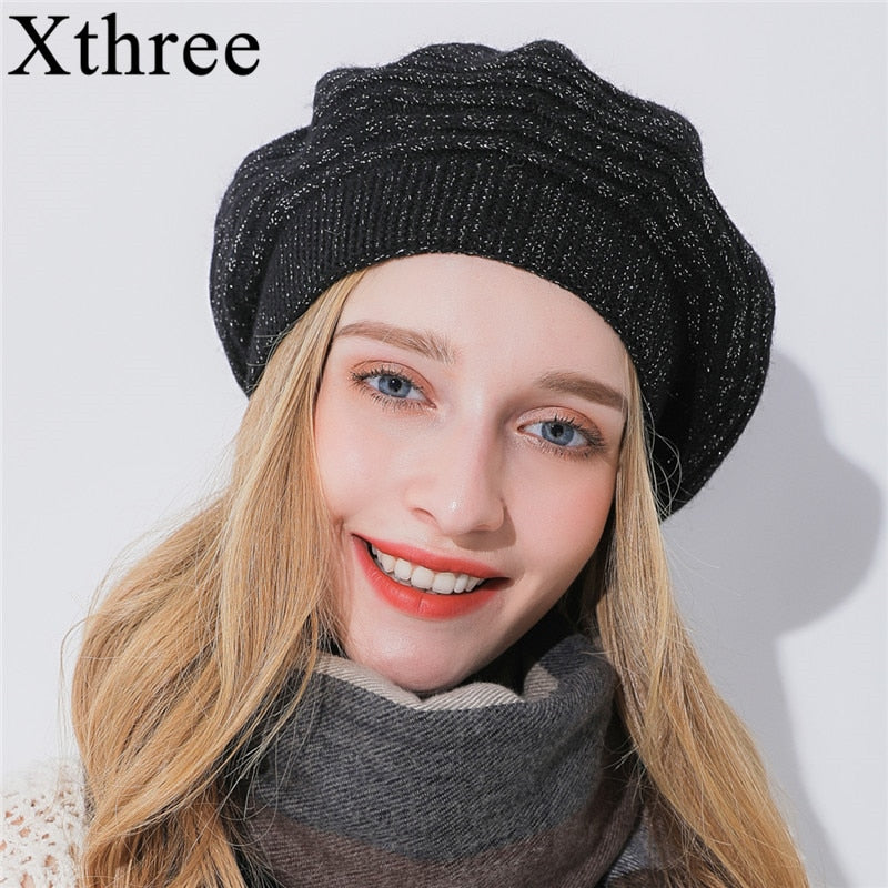 Women's Winter Cashmere Beret Hat with Knitted Silk Thread . - TheRightBuy4Women.com