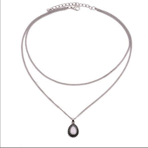 Double Chain Necklace with Crescent Water Drop - TheRightBuy4Women.com