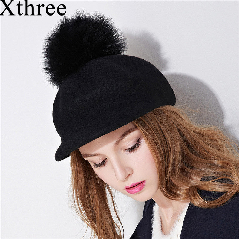 Women's Wool Octagonal Cap. Winter Hat With Visor Fashion Cap With Ostrich Pom Pom - TheRightBuy4Women.com