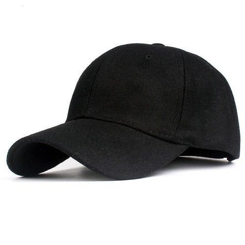 Solid Men's Wool Baseball Cap, Winter Cap Warm Bone Snapback Hat, Gorras Fitted Hats For Women - TheRightBuy4Women.com