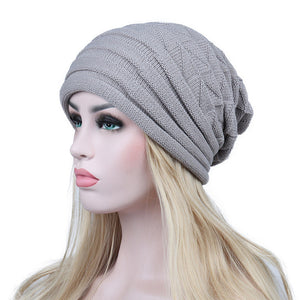 Knitted Beanie Caps- Warm Woolen Geometric Baggy Cap - TheRightBuy4Women.com