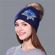 Load image into Gallery viewer, Winter Hat For Women & Girls. Wool Knitted Hat. Beanie Cap Embroidery With Mink Faux-Fur Pom Pom. - TheRightBuy4Women.com