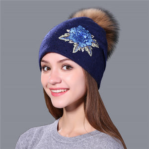 Winter Hat For Women & Girls. Wool Knitted Hat. Beanie Cap Embroidery With Mink Faux-Fur Pom Pom. - TheRightBuy4Women.com