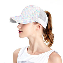 Load image into Gallery viewer, Summer Rhinestone Ponytail Baseball Cap. Mesh Hats For Women. Girl Messy Bun Casual Baseball Hats. - TheRightBuy4Women.com